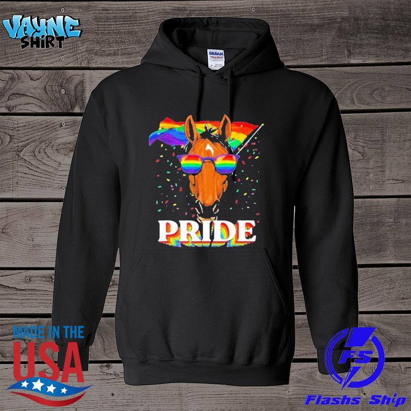 Lgbt horse gay pride lgbtq rainbow flag sunglasses s hoodie