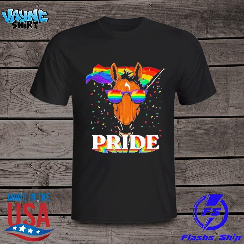 Lgbt horse gay pride lgbtq rainbow flag sunglasses shirt