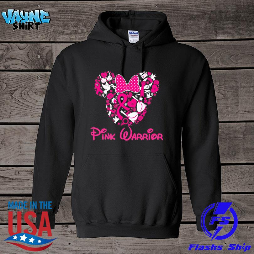 Mickey mouse heart pink warrior breast cancer s hoodie