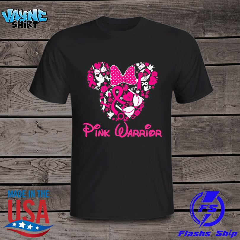 Mickey mouse heart pink warrior breast cancer shirt