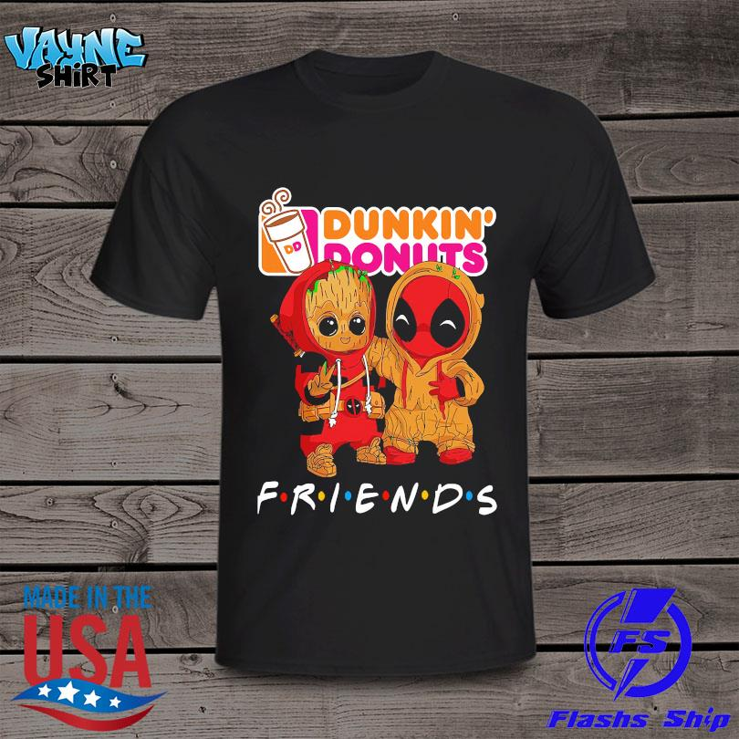 Official Baby Groot and baby Spiderman Dunkin' Donuts Friends shirt
