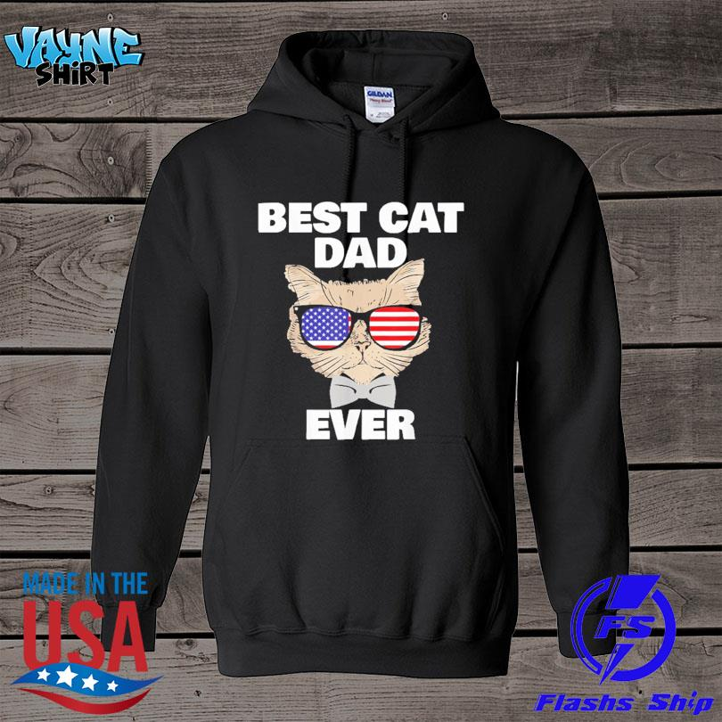 Official Best cat dad fathers day daddy papa cat with sunglasses s hoodie