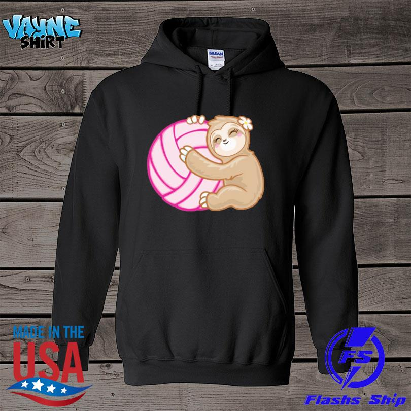 Official Volleyball sloth hug pink ball s hoodie