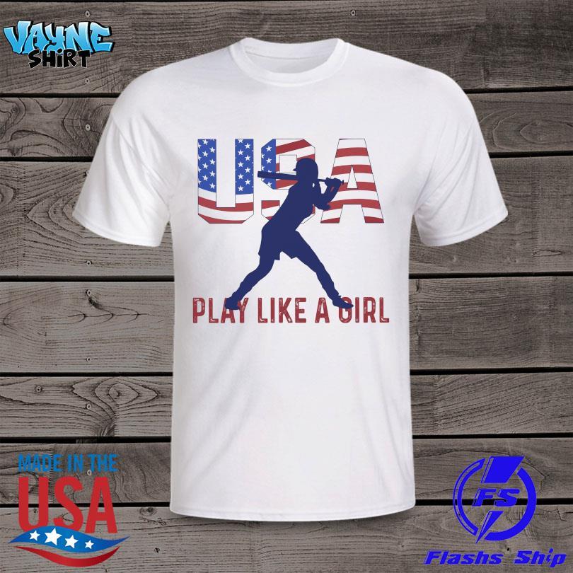Baseball USA Flag play like a Girl shirt