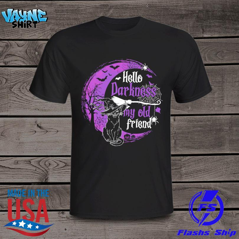 Black Cat hello darkness my old friends Halloween Moon shirt