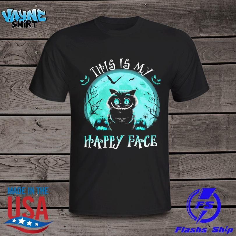 Black Cat this is my Happy face Halloween Moon shirt