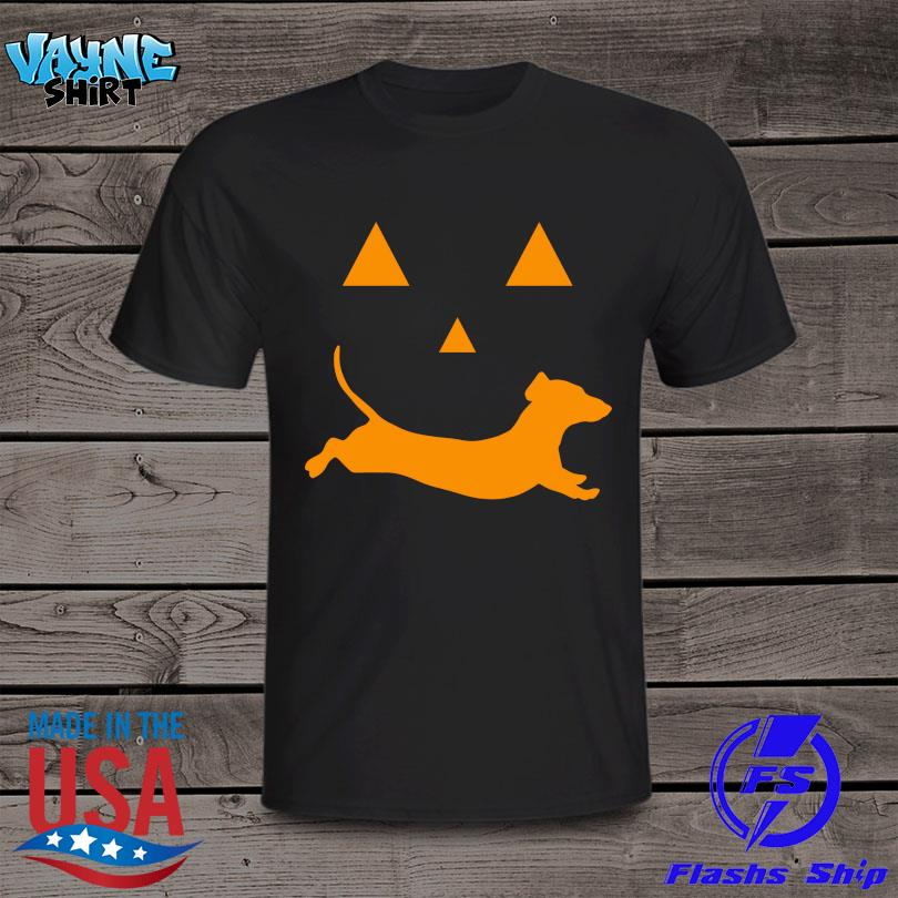 Halloween Dachshund Face Pumpkin T-Shirt Masswerks Store