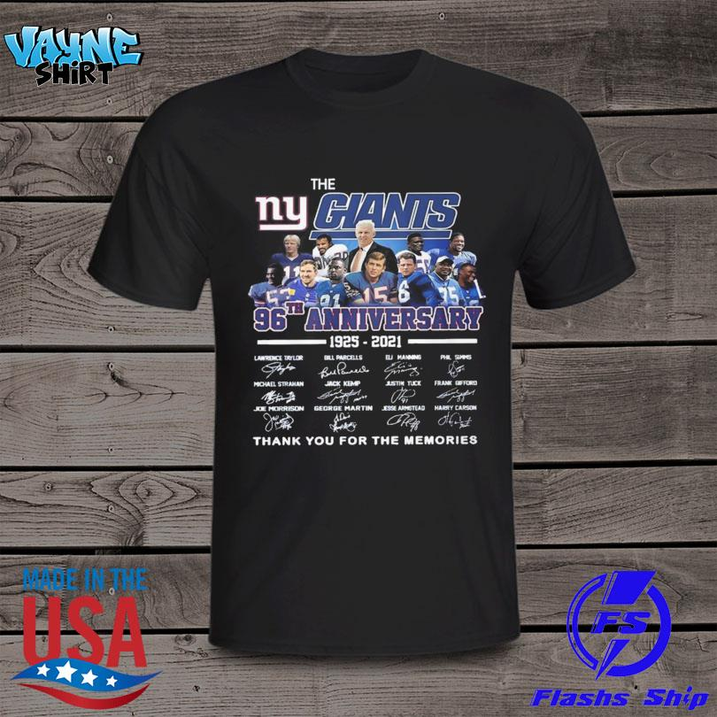 The New York Giants 96th anniversary 1925 2021 thank you for the memories signatures shirt