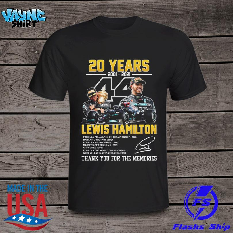 Lewis Hamilton 2001 2021 thank you for the memories signature t-shirt