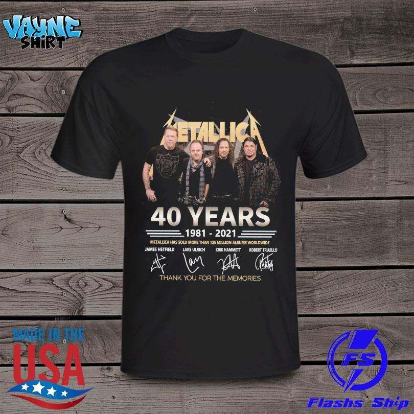 Metallica 40 years 1981 2021 thank you for the memories signatures shirt