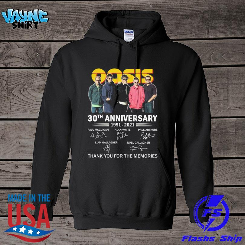 Oasis 30th th anniversary 1991 2021 thank you for the memories signatures s hoodie