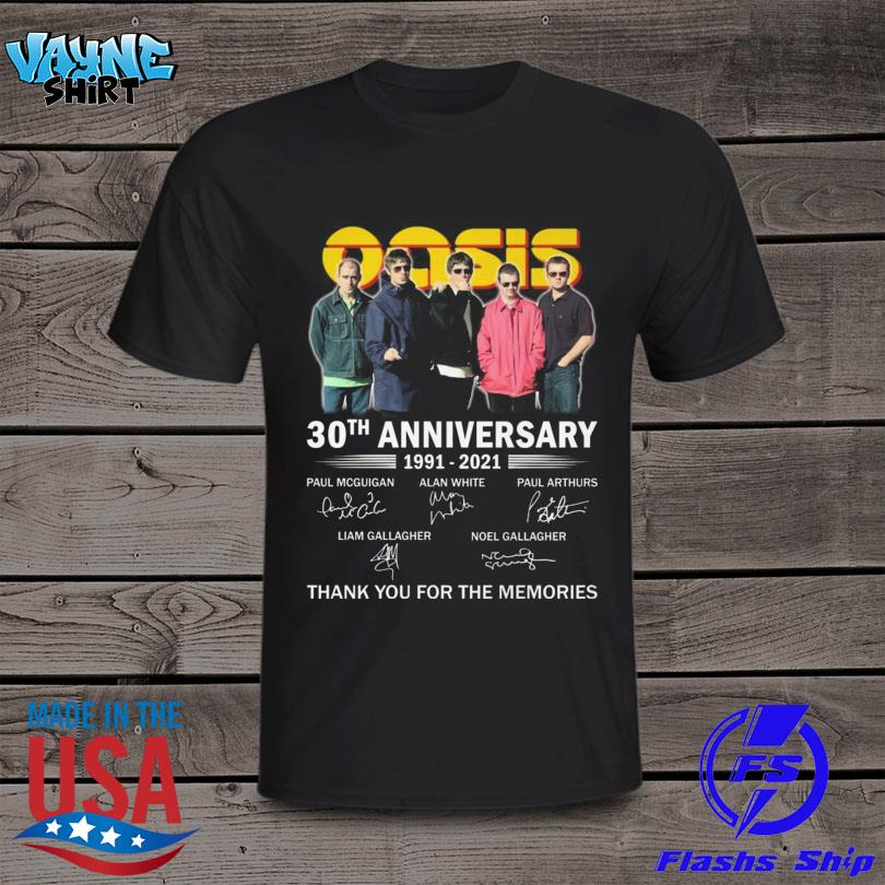 Oasis 30th th anniversary 1991 2021 thank you for the memories signatures shirt